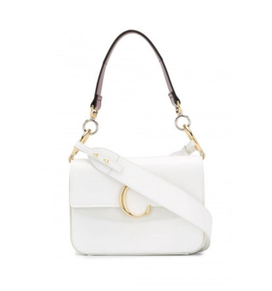 5a78a8f85db Chloé Small C Double Carry White Leather Shoulder Bag - Tradesy