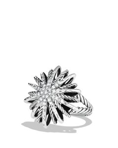 David Yurman David Yurman Large starburst Diamond ring 25mm silver diamond .50cts