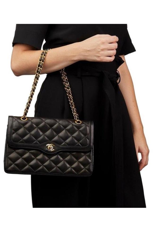 802dd0a4755a3a Chanel Double Flap Classic Vintage Black Lambskin Shoulder Bag - Tradesy