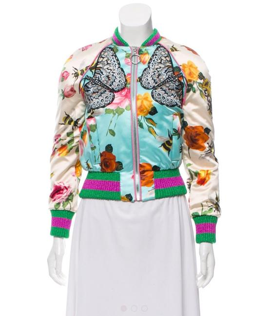 Item - Pink & Floral Embroidered Silk Butterfly Bomber Jacket Size 12 (L)