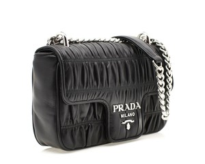 ea18aeb8af53 Prada Ruched Leather Messenger Chain Shoulder Cross Body Bag