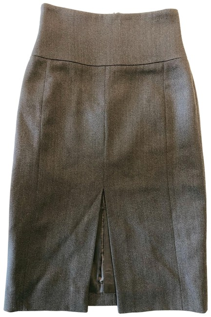 Item - Brown Gray XS W Wool W/ Leather Slit Insert High Waisted Pencil 2 0 Skirt Size 4 (S, 27)
