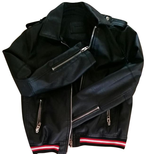 Item - Black/ Ribbed Waistband Red and White. New Without Tags Faux Leather In A Red/White/Black Band Of Colors. Zipper Full Lining. In Jacket Size 2 (XS)