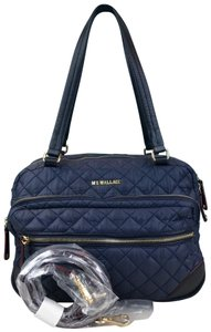MZ Wallace Navy Quilted Crosby Satchel in Blue