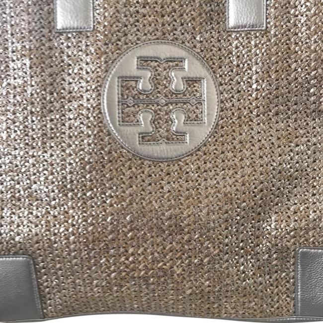 Item - Metallic Tote Natural/Silver Straw Cowhide Leather Fabric Beach Bag