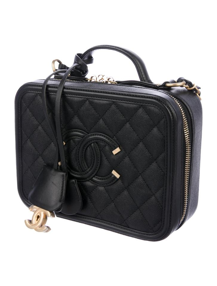 Chanel Vanity Case Cc Filigree Medium Black Leather