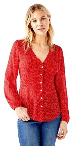 JustFab Button Down Shirt Red & White