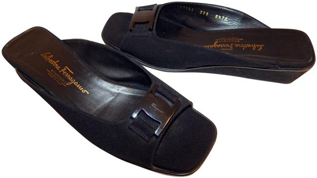 Item - Black Canvas Logo Wedge Open Italy Sandals Size US 8.5 Narrow (Aa, N)