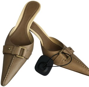 Gucci Brass Buckle Italy Light Brown Mules