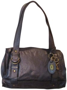 Fossil Leather Satchel in pewter