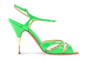 Christian Louboutin Red Bottoms Patent Leather Gold Green Sandals