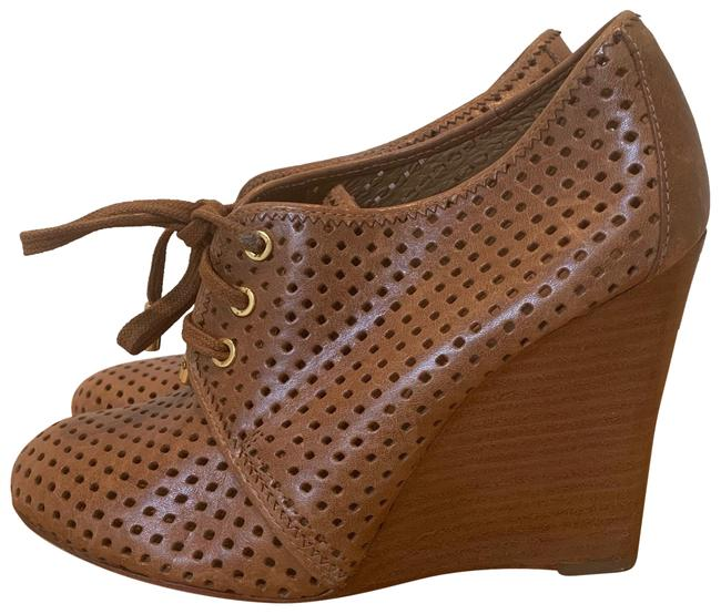 Item - Light Brown Perforated Leather Wedges Size US 7 Regular (M, B)