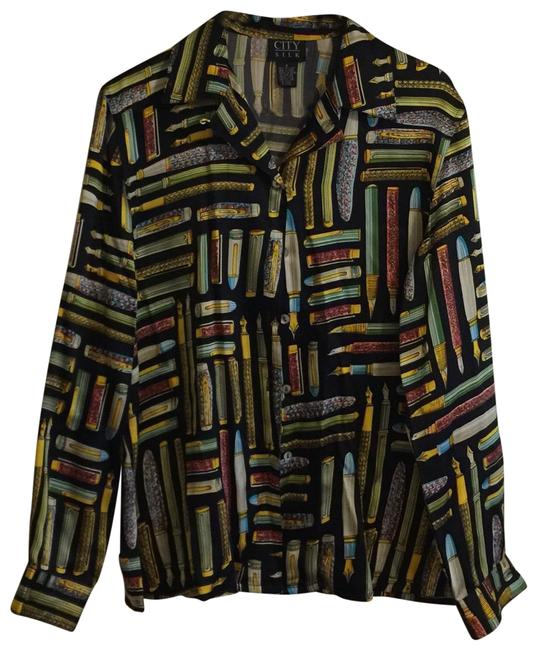 Item - Pens Printed Button Blouse Size 4 (S)