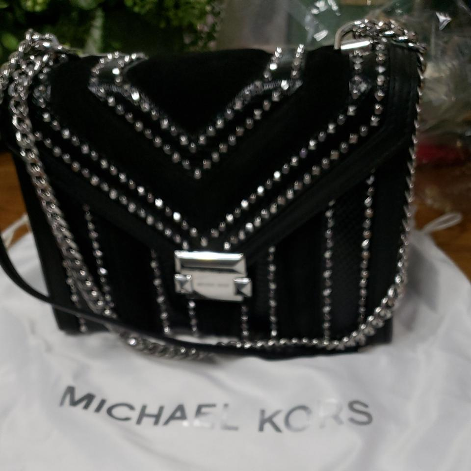 b51dd7a041 Michael Kors Mk with Tag and Dust If You Like Sparkle This Is The One For  You. Black Suede Leather Cross Body Bag