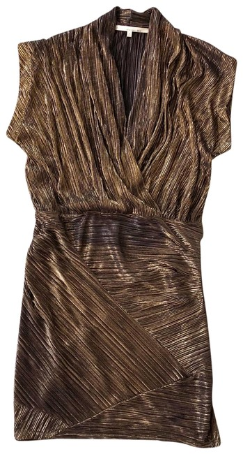 Item - Golden Brown Gold Lame Drapey Short Night Out Dress Size 8 (M)