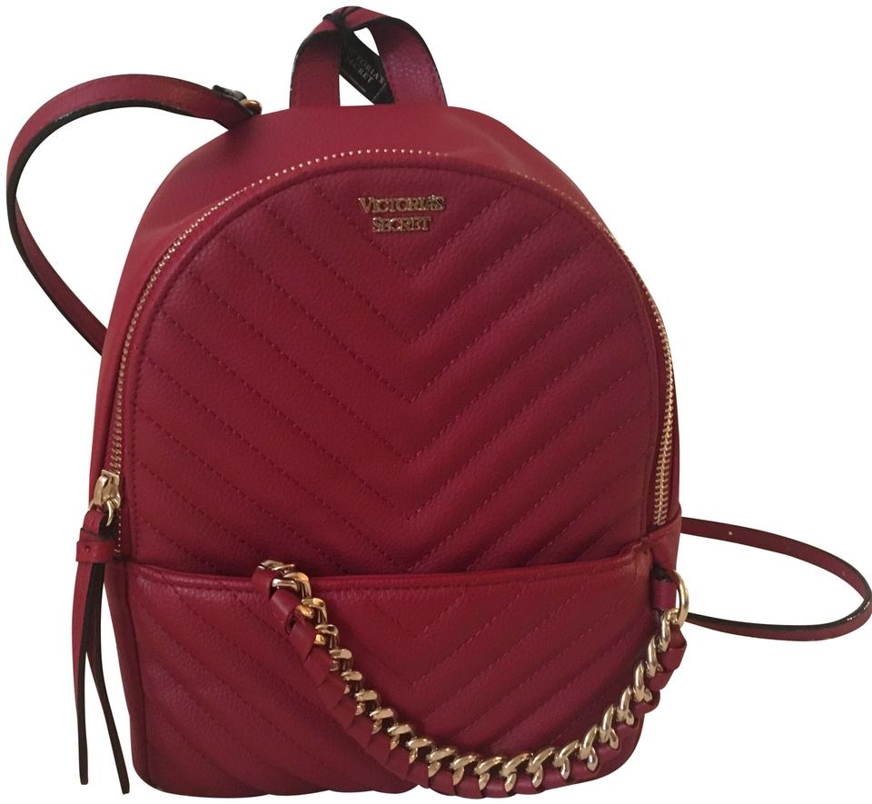 bafd86e792399 Victoria's Secret Pebbled V Quilt Small City Red Backpack 22% off retail
