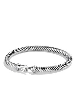 David Yurman Silver Cable Buckle with Diamonds 5mm Bracelet