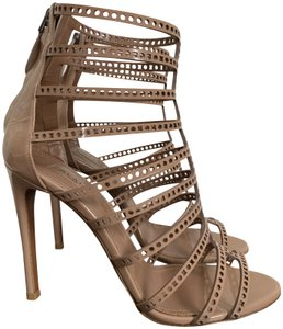 ALAÏA Patent Leather Cut Out Caged Bootie Nude Beige Sandals