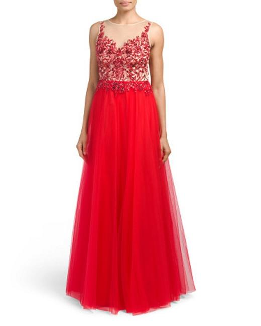 basix black label Red/Nude Illusion Beaded Long Formal Dress Size 6 (S) basix black label Red/Nude Illusion Beaded Long Formal Dress Size 6 (S) Image 1