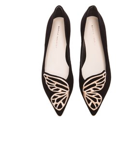 Sophia Webster Butterfly Black &Rose Gold Flats