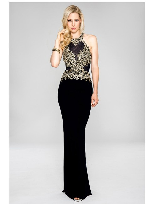 Item - Navy/Gold Embroidered Illusion Bodice Long Formal Dress Size 6 (S)