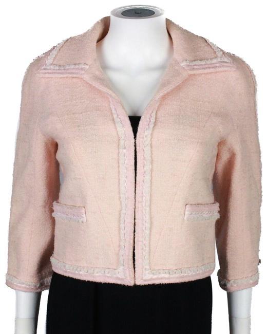 Item - Pink Cropped 2009 Tweed Blazer Coat Cream Trim - 36 - Jacket Size 4 (S)
