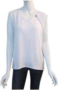 T Tahari Boat Neck Exposed Zip Deco Lithe Sleeve Antique Silver Pullover Style Top White