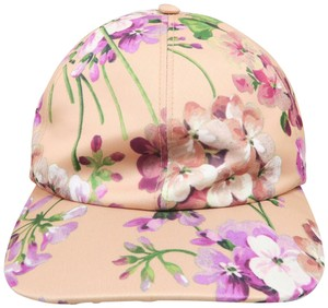 Gucci Gucci Peach and Multicolored Floral Print Size 57 & M Hat - item med img
