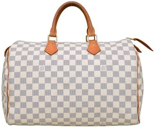 Louis Vuitton Monogram Speedy Boston Speedy 35 Satchel in White