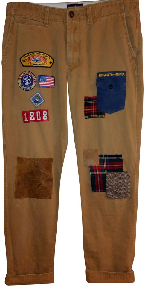 American Eagle Outfitters Tan Men's Custom Boys Scouts Patchwork Pants Size  14 (L, 34)