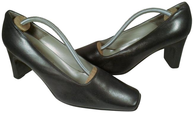 Item - Navy Blue Leather Woman Classic Royal Slip-on Dress Casual Pumps Size US 10 Regular (M, B)