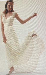 BHLDN Ivory/Champagne Lace Twilla Gown Feminine Wedding Dress Size 10 (M) - item med img