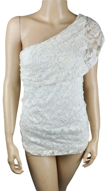 Item - White New Lace One Shoulder Floral Grecian Shirt Blouse Size 6 (S)