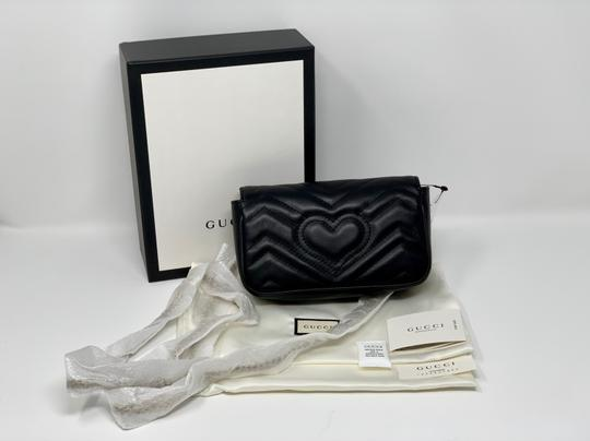 3b8bf831be8f Gucci Marmont Gg Matelassé Quilted Leather Super Mini Black Cross ...