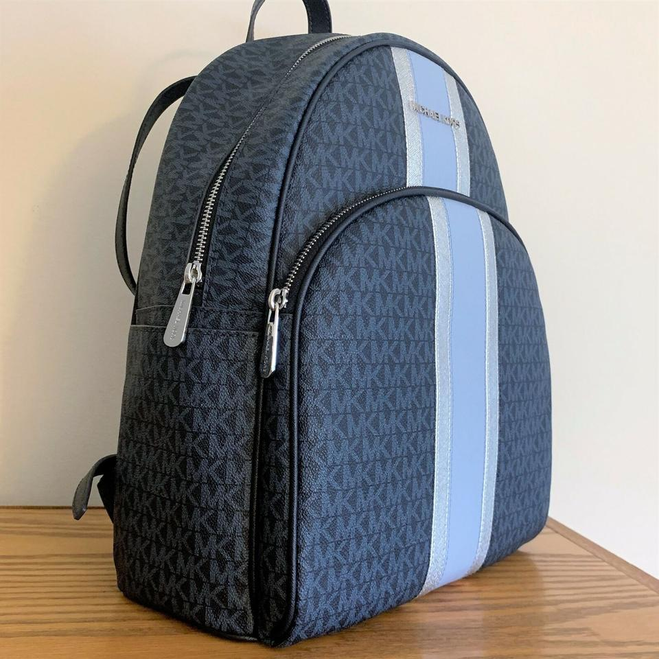Michael Kors Large Abbey Stripe Admiral Blue Leather Backpack 45% off retail