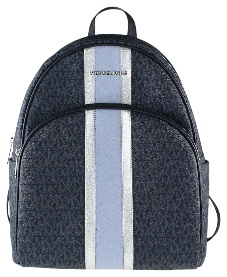 1f50343a42e2 Michael Kors Jet Set Lrg Abbey Stripe Admiral Blue Leather Backpack ...