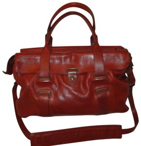 86599209f4 Theory Leather Onm005 Cross Body Shoulder Satchel in dark/brick red