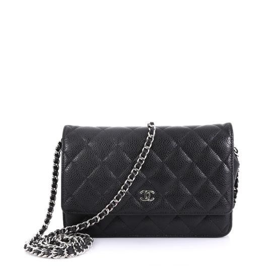 Chanel Wallet On Chain Quilted Caviar Black Leather Cross