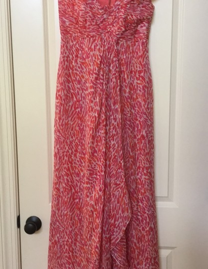 Liancarlo Red Coral Silk Made In Usa Off Shoulder Designer For Island Destination Bridesmaid/Mob Dress Size 6 (S) Image 3