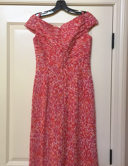 Liancarlo Red Coral Silk Made In Usa Off Shoulder Designer For Island Destination Bridesmaid/Mob Dress Size 6 (S) Image 4