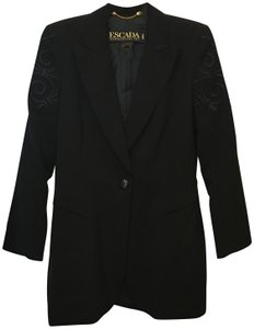 Escada Jacket Applique Accent Wool Fully Lined Size 6 S Small Black Blazer
