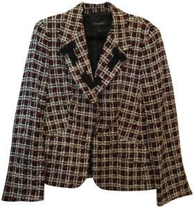 Escada Jacket Red & White Bow Detail French Cuffs Size 14 L Large Black Multi Blazer