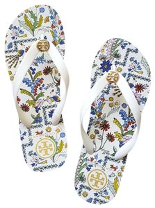 Tory Burch Flats Flip Flops White floral ivory Sandals