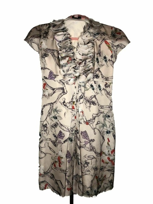 Item - Gray N304 New Designer S Silk Floral A-line Short Casual Dress Size 4 (S)