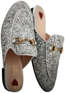 Gucci Silver - T.Crystal / Nappa Silk Argento Mules
