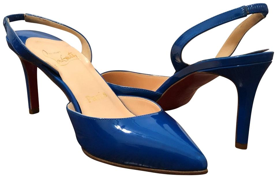 b080a039af7 Christian Louboutin Blue Clare 80 Patent Leather Point Toe Slingback Pumps  Size EU 37 (Approx. US 7) Regular (M, B) 32% off retail