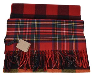 Burberry New Burberry Bright Red Colorblock Vintage Nova Check Scarf