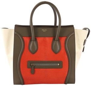 Céline Tote/Luggage Pony Hair & Leather Tote in red and taupe