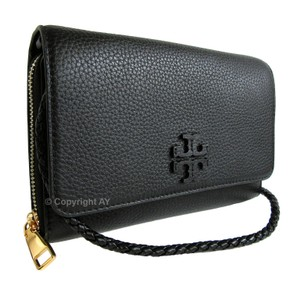 Tory Burch Leather Braided Strap Wallet Clutch Wallet Cross Body Bag