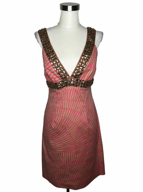 Trina Turk Pink Beige N331 Designer Medium Sequin Shift Short Cocktail Dress Size 10 (M) Trina Turk Pink Beige N331 Designer Medium Sequin Shift Short Cocktail Dress Size 10 (M) Image 1